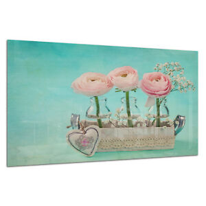Wall Art Picture Tempered ESG Glass Photo Print Pink Roses Heart Prizma GWA0332