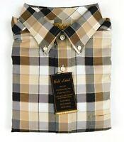 NWT Gold Label Roundtre York LS Tan Check Men Shirt Big Tall XLT 2XT 3XT 2XB 3XB