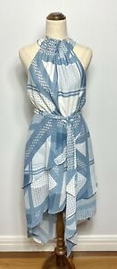 NWT C/MEO Collective Allude Blue White Halter Scarf Print Dress Size Medium