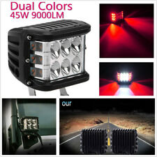 "1 Pcs 4"" LED Dual Color Red+White Car Side Shooter Combo Beam Fog Light DRL Lamp"