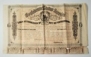 1864 Cr.143 $500 Confederate States of America War Bond w/ 5 Coupons - NO RES!