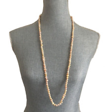 "Long Elegant Endless Natural freshwater pearls necklace apricot 36"" long New"