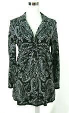STYLE & Co Sweater Jacket Blazer PM Medium Petite Gray Black Paisley Cotton Knit