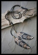 Free People Feather in the Wind Black Leather Lariat Necklace $98.00 Rare Color