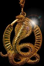 LOOK Big Gold Plated Egypt Cobra Snake Pendant Charm Jewelry