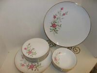 14 PC FINE CHINA ROSANNE 7007 PINK ROSES CAKE PLATTER DINNER BREAD PLATES BOWLS