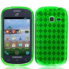 For Samsung Galaxy Centura S738C TPU CANDY Hard Gel Flexi Case Cover Green Plaid