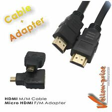 Cable and Adapter Pack: Micro HDMI to HDMI M/F Adaptor Coupler + 10FT HDMI Cable