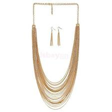 Jewelry Set Multi-layer Tassel Necklace Earrings Long Chains for Women