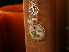 Lions Bookmark Tibetan Silver Cabochon with Double Heart, Hope Charm & Swarovski