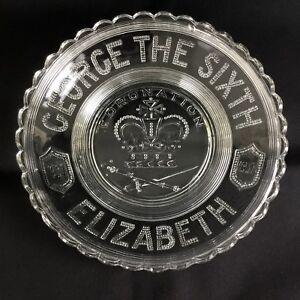 King George VI Commemorative Glass Bowl 1937 British Royalty Queen Elizabeth