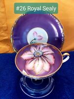 Royal Sealy Fine Bone China Teacup And Saucer Set. Hand Painted. English