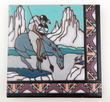 Vintage: Earthtones, End of The Trail, Ceramic Art Tile, Colorful, Native