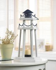 White Black Nautical Lighthouse Candle Lantern Light Wedding Centerpiece Table
