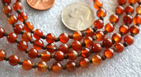 Orange Brown Jade Hand Knotted Mala Beads Necklace