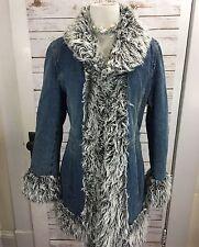 90s GIACCA Denim Jean Coat Womens Shag Faux Fur M Penny Lane Almost Famous Rave