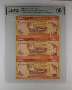 Sri Lanka 2010 PMG 68 Gem UNC Sheet of 3 banknote 100 Rupees Uncut Sheet
