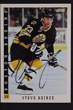 Steve Heinze Boston Bruins Autographed 1993 Score #251 Hockey Card JSA 16H