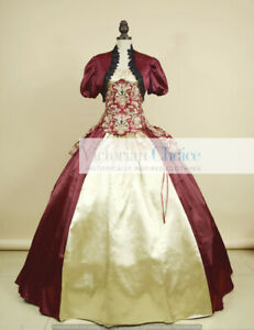 Victorian Corset Bustle Floral Fantasy Dress 4-PC Evening Gown Theater Wear 329
