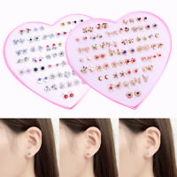 1/12/36Pair Women Anti Allergy Ear Stud Gold Silver Plated Earrings Jewelry Set