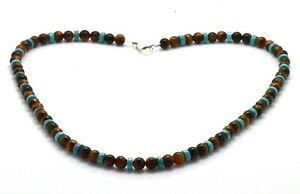 Mens Bead Necklace Tiger's Eye and Turquoise 925 Sterling Silver Clasp Handmade