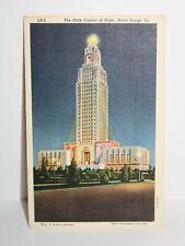 Vintage Postcard - State Capitol At Night Baton Rouge Louisiana