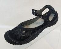JBU Jambu Wildflower Mary Jane Black Leather Slip On Womens Shoes Size 8.5M
