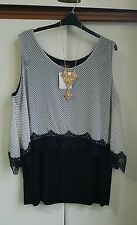 BLACK AND WHITE POLKA-DOT  LAGENLOOK LACE LTOP SIZE 24 BNWT RRP £29.00