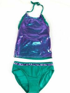 Cat & Jack Tankini Girls Size Large 10-12 Aqua 2 Piece Sea Urchin Swimsuit NEW