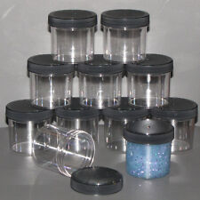 11 slime containers favors gifts Clear Plastic Round Wide Mouth Jars 3 oz Black