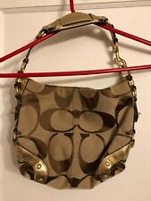Authentic Coach Carly Signature Bag # 10619 Tan and Brown with Gold Leather Trim