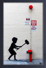 BANKSY HAMMER BOY 13x19 FRAMED GELCOAT POSTER STREET ART ARTIST PAINT LONDON NEW
