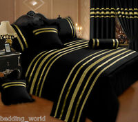 BLACK / GOLD RIBBON 200 THREAD COUNT COTTON LUXURIOUS BEDDING OR CURTAINS