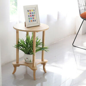 Wooden Sofa Side Coffee Table Occasional Round Small End Tables Display 2 Tiers
