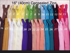 """Concealed Invisible Zips 16""""(40cm) For Sewing Dresses-Upholstery-Cushons-Pillows"""