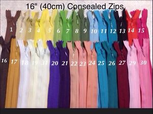 "Concealed Invisible Zips 16""(40cm) For Sewing Dresses-Upholstery-Cushons-Pillows"