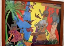 Peinture africaine moderne signée Richard Koutika.  Modern African painting