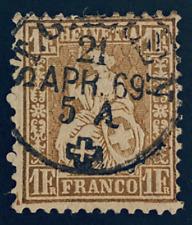 Swiss 1862, Yellowish Bronze Seated Helvetia, Scott #50a, Used, CV $620