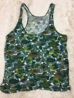 Delia's Women's Top Green Blue Multi-Colored Floral Sleeveless Tank Size Large
