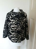 Per Una Wool Blend 3/4 Sleeve Abstract Evening Smart Jacket Coat Size 10