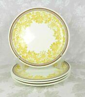 Set of 4 Jamestown China Dinner Plates Yellow Daisies Brown Band Vintage MCM