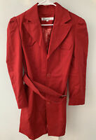 Kenneth Cole New York Women's Red Button Down Trench Business Coat Size LARGE