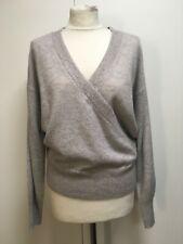 NEW John Lewis grey melange mock wrap cashmere jumper 12