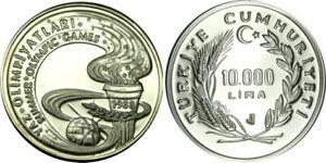 elf Turkey 10,000 Lira (10 Bin Lira) 1988 Silver Proof  Olympic Games  Torch