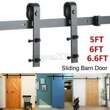 5/6/6.6FT Sliding Barn Door Hardware Kit Modern Hang Style Closet Track Rail Set