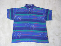 VINTAGE Nautica Polo Shirt Adult Large Purple Green Striped All Over Print Mens