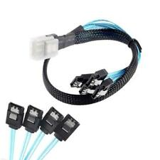 Mini SAS 4i SFF-8087 36P 36-Pin Male to 4 SATA 7-Pin Splitter Adapter Cable FT