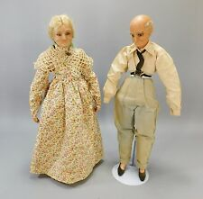 """Grandpa and Grandma Old Elderly Couple Antique Wax Doll Set 18"""" Fully Clothed"""