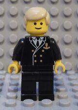 LEGO Minifig Cruise SHIP CAPTAIN Officer Sailor Black Uniform Blond Hair