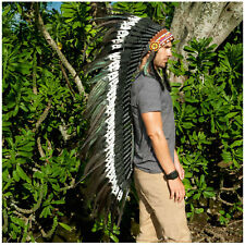 Extra Long Indian Style Headdress - ADJUSTABLE - DOUBLE FEATHER Black & White